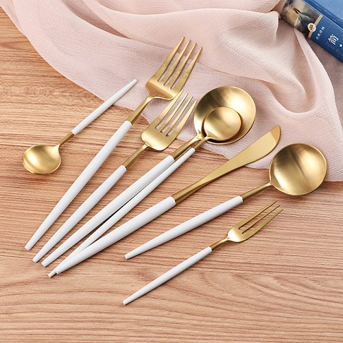 2019 White Gold Plate Dinner Dessert Fork Spoon Knife Set Dinnerware Set 304 Stainless Steel Cutlery Set Tableware Gold Spoon