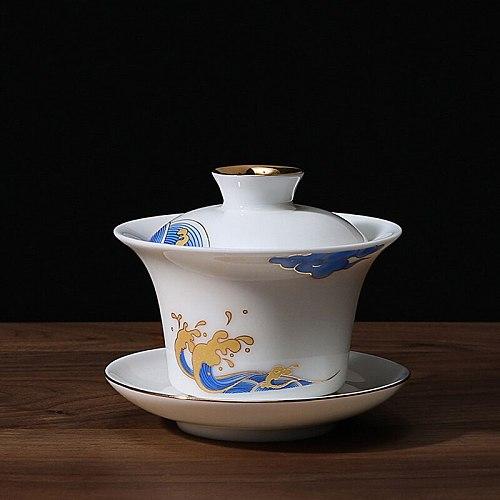 140ML 160ML Gaiwan White Jade Porcelain Tureen Kung Fu Tea Set Ceramic Cup Cover Saucer Lid Kit Spindrift Spray Sancai Tea Bowl