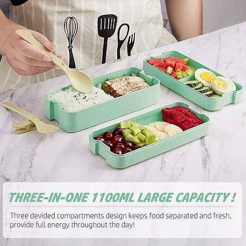 Food/Bento Box Healthy Material Lunch Box 3 Layer Wheat Straw Wheat Straw Leakproof Microwave Safety BPA free Kids Lunch Contain