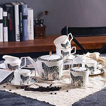 11 pcs luxury zebra style ceramic bone china Coffee Tea Sets 1 teapot 4 cups 4 saucers 1 sugar pot 1 creamer