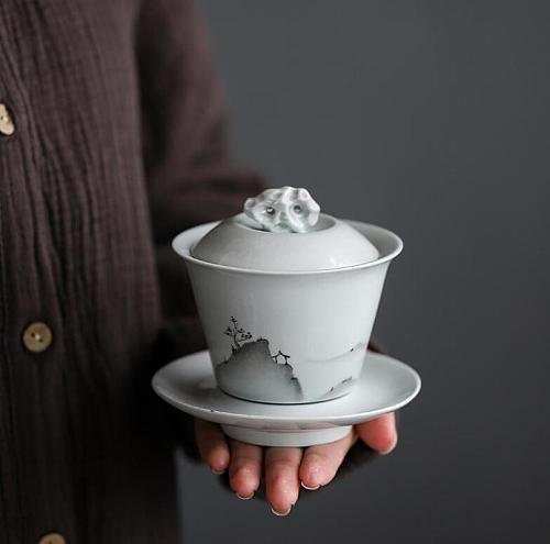 130ML Soot Glaze Gaiwan Tureen Ceramic Tea Bowl Saucer Lid Set Handmade Landscape Teaware Drinkware Tea Master Cup Crafts Gift