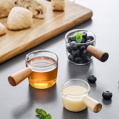 Japanese Mini Glass Milk Pan Single Handle Baby Cooker Vinegar Plate Gravy Boats Saucepan Small Stewpot Glass Sauce With Handle