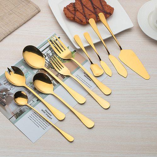 Stainless Steel Cutlery Set Gold Dinnerware Set Western Food Cutlery Tableware Dinnerware Christmas Gift Forks Knives Spoons 1PC