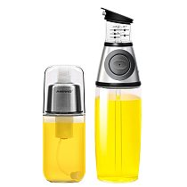 AMINNO Oil Sprayer and Dispenser Press measure Oil Vinegar Bottle with Pump Olive Oil Sprayer for Cooking Health Manager