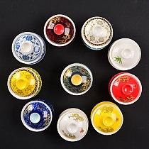 on sales Chinese kungfu tea set porcelain gaiwan cup saucer lid dragon print bamboo panda ceramic tureen cup bowl covered bowls