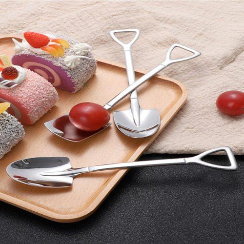 4 PCS 304 Stainless Steel Spoon Cake Ice Cream Spoon Pointed Square Head Creative Retro Shovel Coffee Spoon