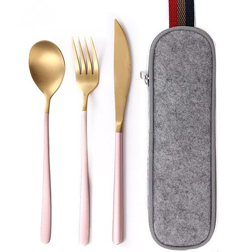 8Pcs/set Tableware Reusable Travel Cutlery Set Camp Utensils Set with stainless steel Spoon Fork Chopsticks Straw Portable case
