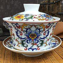 2021 High Capacity Chinese Teaset Elegant Gaiwan 300ml Traditional Ceramic Tea Tureen Lid Bowl Saucer Glaze Tea Cup