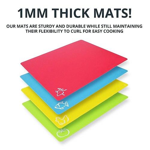 LMETJMA 4Pcs/set Chopping Block Set Extra Thick Flexible Plastic Cutting Board Mat With Food Icons Kitchen Chopping Block KC0034