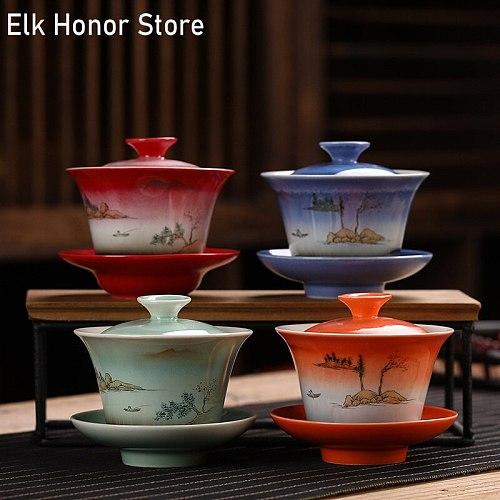 155ml Ceramic Tea Gaiwan TeacupHand Painted Large Tea tureen Chinese White jade porcelain tea bowl Tea set Accessories