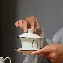 130ml Hand Painted Lotus Flower Tea Tureen Chinese Gaiwan Ceramic Kung Fu Tea Bowl Teacup Teapots Tea Ceremony Accessories Decor