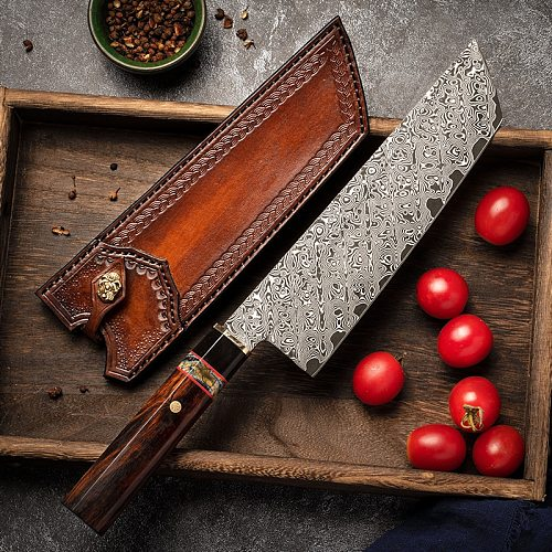 FZIZUO Damascus Steel Nakiri Vegetable Knife 8inch Desert Ironwood Handle Handmade Japanese Style Kitchen Chef Knife with Sheath