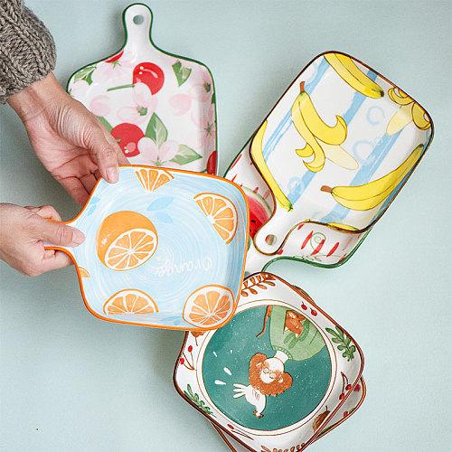 JSWORK Ceramic Plates Trays Dessert Dishes Cake Bandeja Postres Fruit Cute Flower Dinnerware Tableware Handle Kitchen