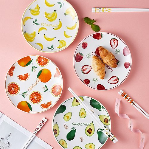 Creative Ceramic Plates Porcelain Tableware For Food Serving Fruits Fresh Style Household Food Tray Dinner Kitchen Accessories
