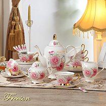Romantic Bone China Coffee Set British Porcelain Tea Set Ceramic Pot Creamer Sugar Bowl Teatime Teapot Coffee Cup Coffeeware