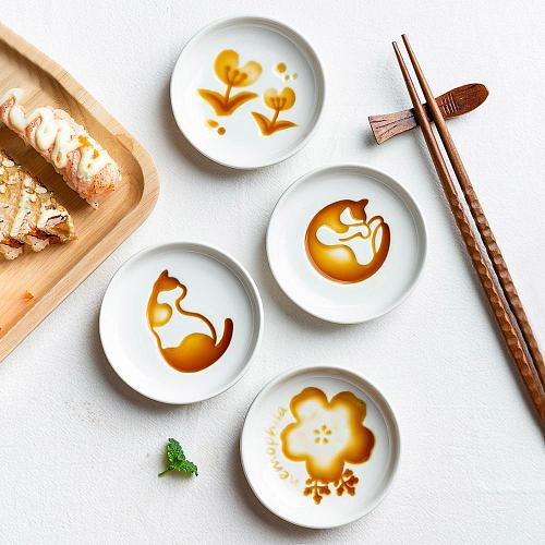 MDZF SWEETHOME Ceramic 3D relief sauce dish Japanese Cat Flowers Kitchen Seasoning Sauce sushi Soy Sauce Dish Snack Accessories