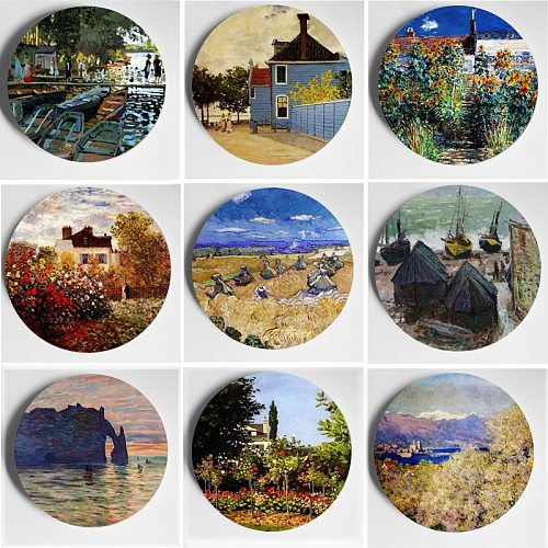 6/7/8/10 Inch Wall Adornment Oil Painting Master Monet Artwork Wall Plate Wall Display Home Living Room Background