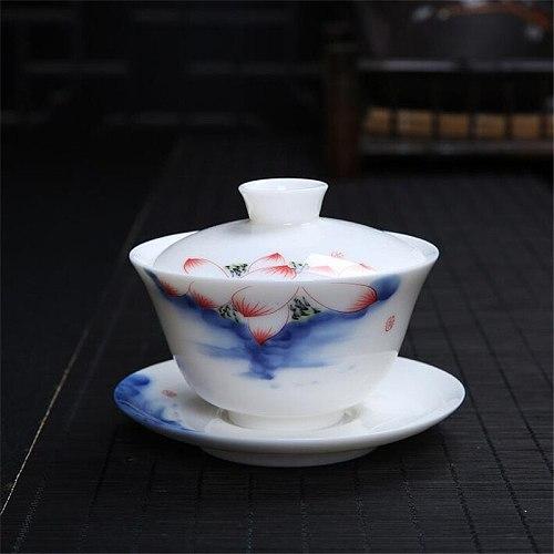 120ml Chinese Tea Tureen Set Gaiwan Ceramic Teaware Sets Hand-painted Bone China Blue and White Porcelain Kung Fu Tea Set Bowl