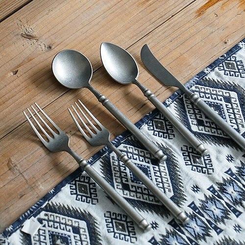 Retro Snow Scrub 304 Stainless Steel Flatware Kitchen Western Cutlery Set Steak Coffee Dessert Vintage Special Fork Tableware