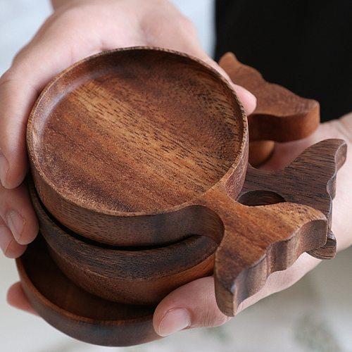 Natural Life Wood Snack Plate Kids Gift Seasoning Sauce Dish Acacia Wooden Fish Shape Dipping Dish Gravy Boats Cartoon Hand-made