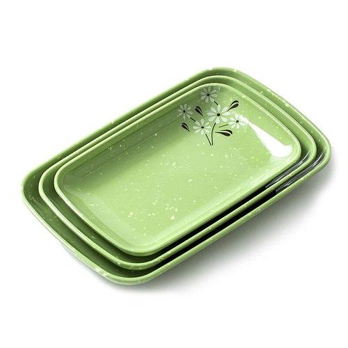 BRERLEIN Melamine Plate Imitation Porcelain Plastic Plate Snack Plate Hot Pot Rectangular Barbecue Plate 1PCS