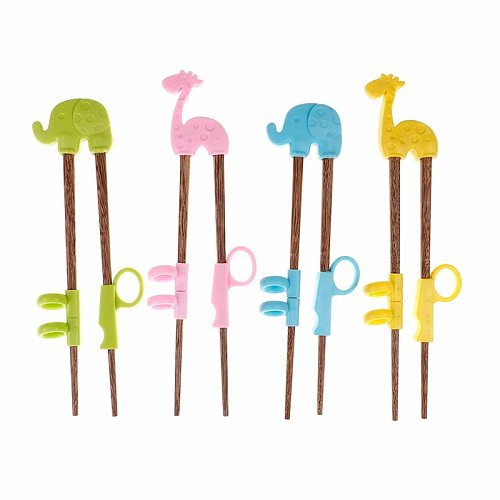 2pcs 4 Colors Baby Training Chopsticks Wood Silicone Baby Exercise Training Chopsticks Cartoon Children Learning Chopsticks