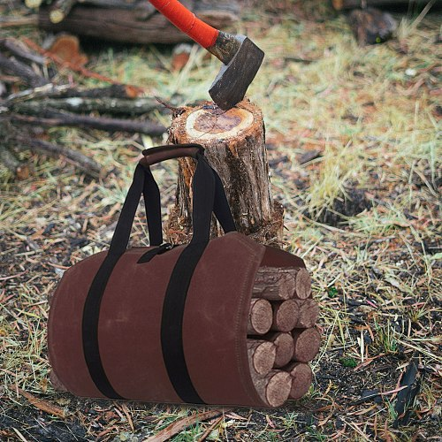 40# Sturdy Waxed Canvas Firewood Log Carrier Durable Firepalce Wood Bag With Handles And Shoulder Straps For Convenient Carrying