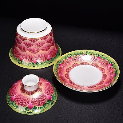 Jingdezhen Ceramic Tea Tureen Enamel Gold Wire Lotus Cover Bowl Chinese KungFu Gaiwan Tea Cup Large Tea Bowl Teaware