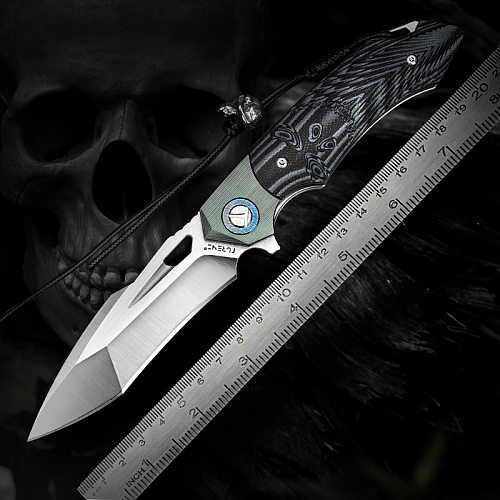 Skull Theme Cool Folding Pocket knife Titanium Damascus and G10 Handle EDC Tanto Point knives for Outdoor Self Defence Survival