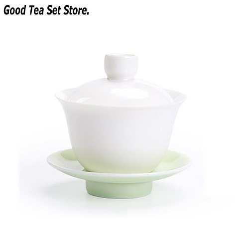 4.4oz Jingdezhen Gaiwan Ceramic Tureen Light Cyan White Porcelain Tea Bowl Cup with Lid Cover Saucer Kit Teacup Teaset Teaware