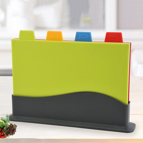 4Pcs/Set Wheats Straw Cutting Board Non-Slip Vegetable/Fruit/Meats/Bread Chopping Boards with Storage Base