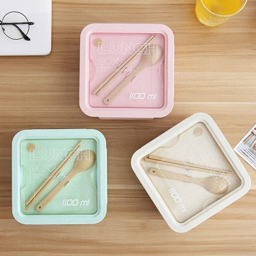 ONEUP Lunch Box For Wheat Straw Japanese Style Container Sealing Tape Spoon Chopsticks Microwave-Style Lunch Box