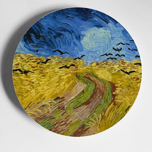 Van Gogh Oil Painting Plate Decorative Plate Hanging Plate Wall Plate European Decor Ceramic Plate Porcelain Plate Decoration