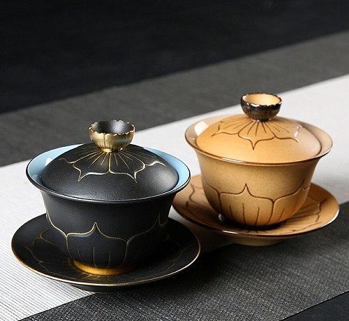 Hand-painted Lotus Ceramics Gaiwan Porcelain Teacups Creative Kung Fu Tea Set Tureen Tea Bowl Gaiwan Puer Kettle,Teapot Lovers