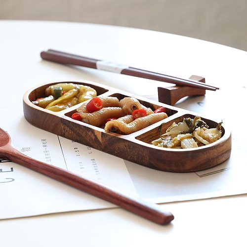 Solid Wood Snack Sauce Dish Tapas Pickled Vegetables Pickles Plates Condiments Dipping Gravy Boats Sugar & Creamer Pots 3-grid