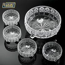Violet fashion fruit plate set glass crystal bowl European large fruit bowl candy dish room