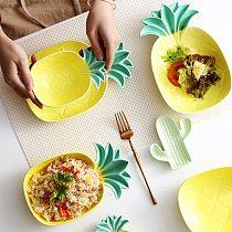 Creative Household Novelty Pineapple Ceramic Plate Breakfast Sushi Bread Dessert Plate Nut Fruit Cake Tray Snack Kitchen Plate