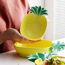 Household Novelty Pineapple Shape Ceramic Plate Fruit Dessert Concise Pastry Plate