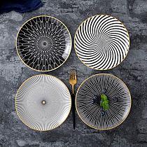 1PC Tableware Phnom Penh Geometry Tableware 6 Inch Ceramic Dinner Plate Dish Porcelain Dessert Plate Dinnerware Cake Plate