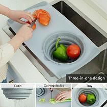 Multifunction Kitchen Chopping Board Sinks Drain Basket Container Cutting Board Kitchen Utensilios De Cocina Dropshipping-V12