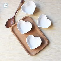 Homies 4PCS Cute Heart Sauce Dish Small Saucer Shape dinner plates heart dish ceramic dish Snack small Plate Salad Dinner Tray