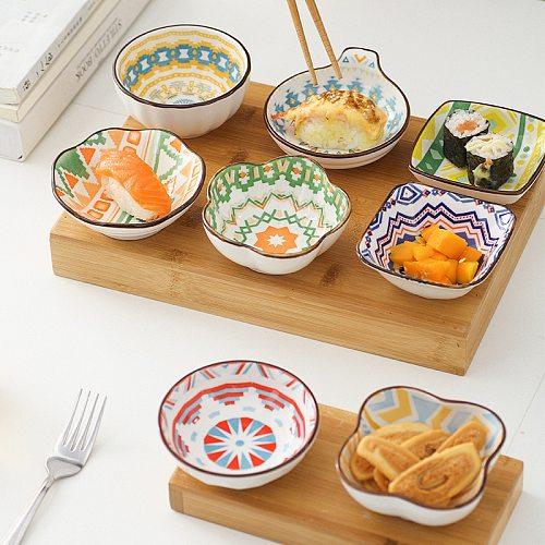 4pcs Bohemian Style Sauce Boat Ceramic Vinegar Jam Dishes Seasoning Saucer Bowl for Soy Sauce Snack Plates Kitchen Dispenser