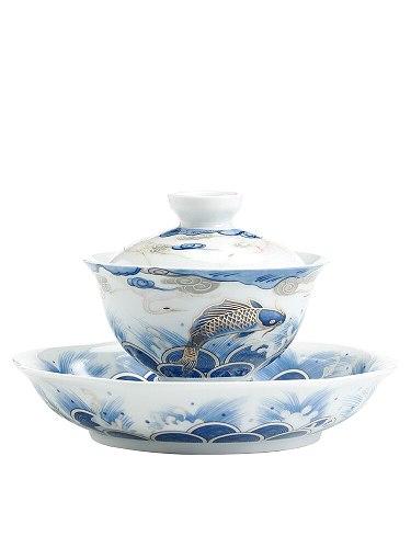 Auspicious dragon fish ceramic cover bowl tea cup blue and white porcelain tea bowl big size tureen household Kungfu teacup