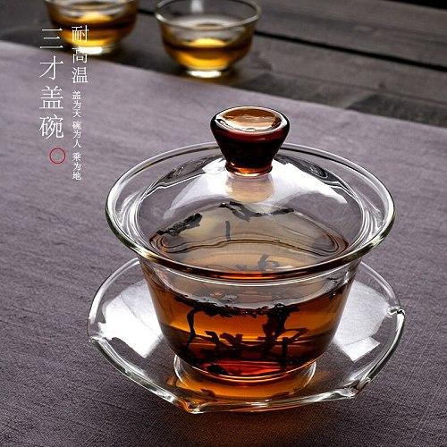 Glass covered tea bowl Kungfu tureen cup teaware high borosilicate material high temperature resistance glass teacup 150ml