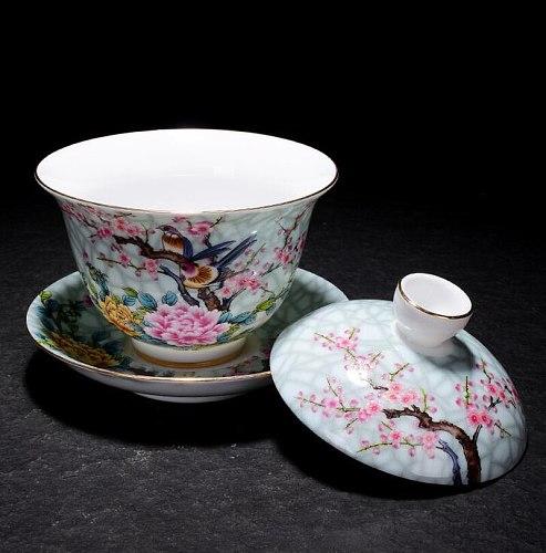 Art Bird Gaiwan Ceramic Porcelain Flower Big Tea Bowl with Saucer Lid Kit Master Tea Tureen Drinkware Gift Home Decor Crafts