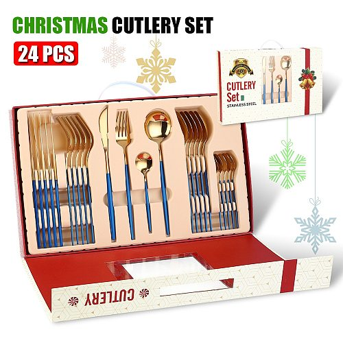 Merry Christmas Cutlery Set 24 Piece Christmas Gifts Dinnerware Knife Fork Spoon Set Tableware Christmas Decorations For Home