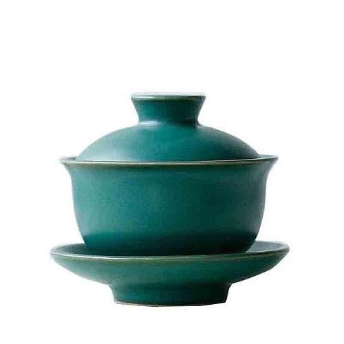 Gaiwan Ceramic 110ml Coarse Pottery Tea Bowl Saucer Lid Set Handmade Master Cup Tea Tureen Teaware Drinkware Teapot Decor Crafts