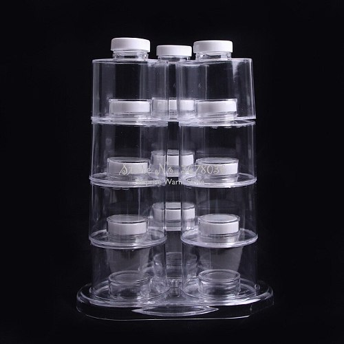 Multifunction Tower Shaped Transparent Rotating Seasoning Jar 12PCS Superimposed Seasoning Bottle with Lid Storage Spice Jar