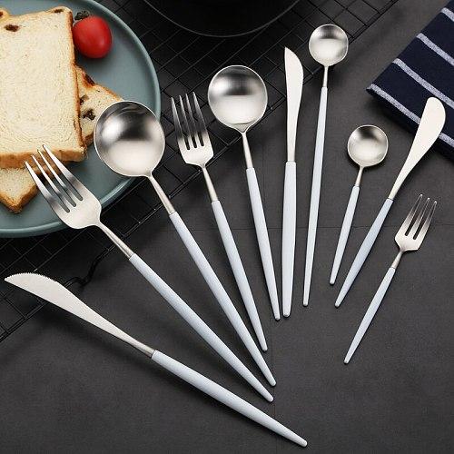Cutlery Set White Silver Tableware Set Stainless Steel Western Food Luxury Fork Spoon Butter Knife Set Chopsticks Drop Ship