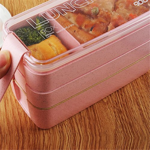 Lunch Box Wheat Straw Bento Boxes 3 Layer Food Box Microwave Dinnerware Food Storage Container Lunchbox for office student
